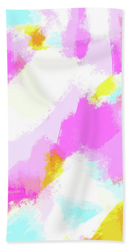 Bailee - Bright Neon Pink Beach Towel featuring the digital art Bailee - Bright neon pink, blue, yellow abstract art by Allyson Johnson