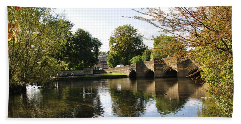 Europe Beach Towel featuring the photograph Bakewell Bridge And The River Wye by Rod Johnson