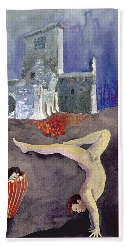 Church Beach Towel featuring the painting Balance by Rene Capone