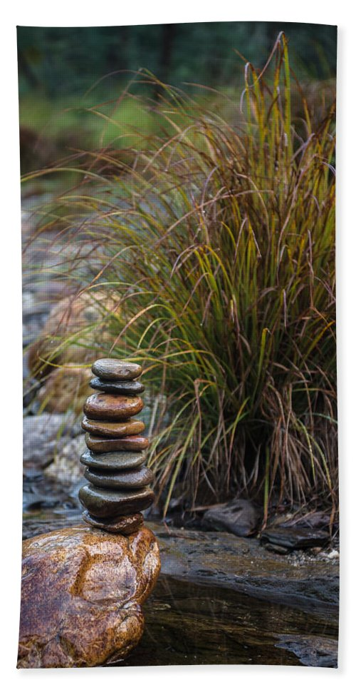 Water Beach Towel featuring the photograph Balancing Zen Stones In Countryside River V by Marco Oliveira