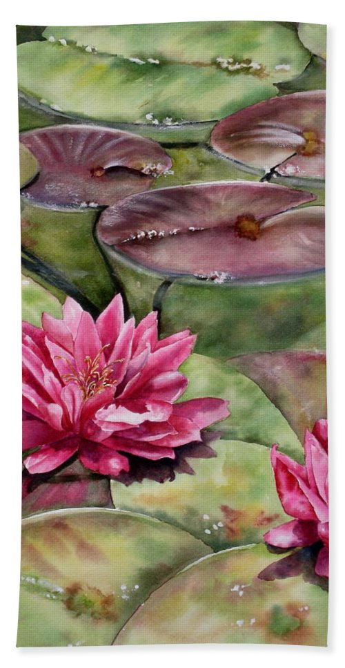 Balboa Park Water Lilies Beach Towel featuring the painting Balboa Water Lilies by Mary McCullah