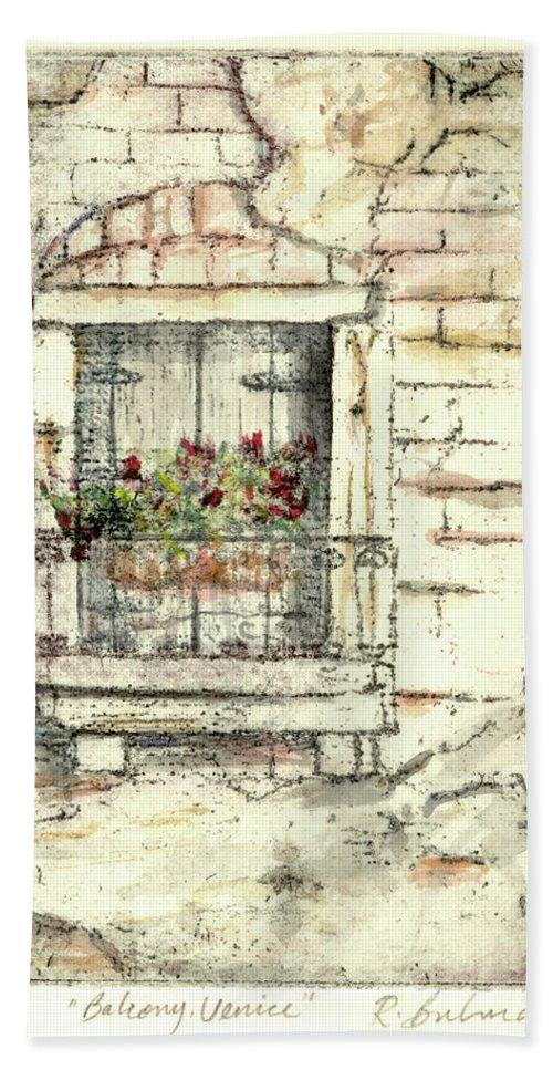 Venice Beach Sheet featuring the painting Balcony Venice by Richard Bulman