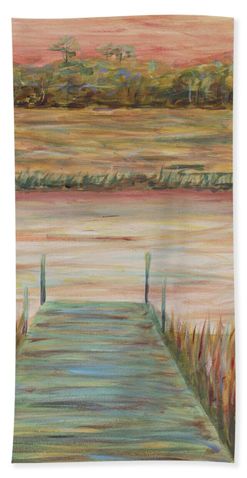 Dock Beach Towel featuring the painting Bald Head Dock by Nadine Rippelmeyer