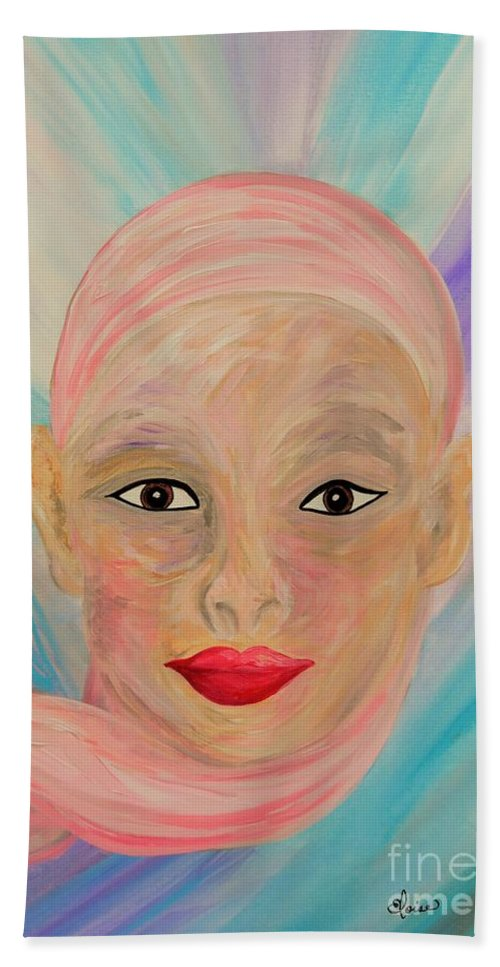 Bald Beach Towel featuring the painting Bald Is Beauty With Brown Eyes by Eloise Schneider Mote