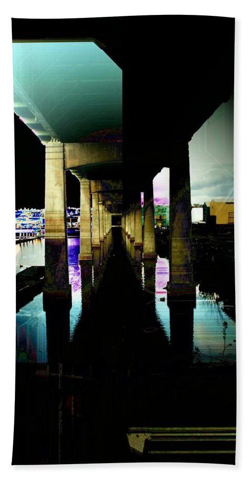 Seattle Beach Towel featuring the digital art Ballard Bridge by Tim Allen
