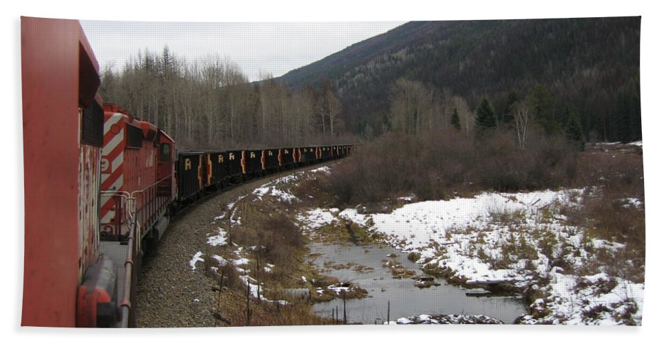 Photograph Train Mountain Snow Winter Tree Nature Beach Towel featuring the photograph Ballast Train by Seon-Jeong Kim