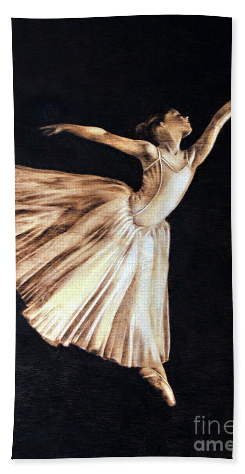 Ballerina Beach Towel featuring the pyrography Ballerina by Ilaria Andreucci