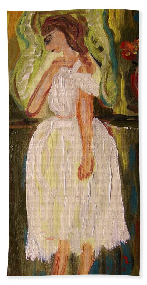 Acrylic Beach Towel featuring the painting Ballerina Preparation by Mary Carol Williams