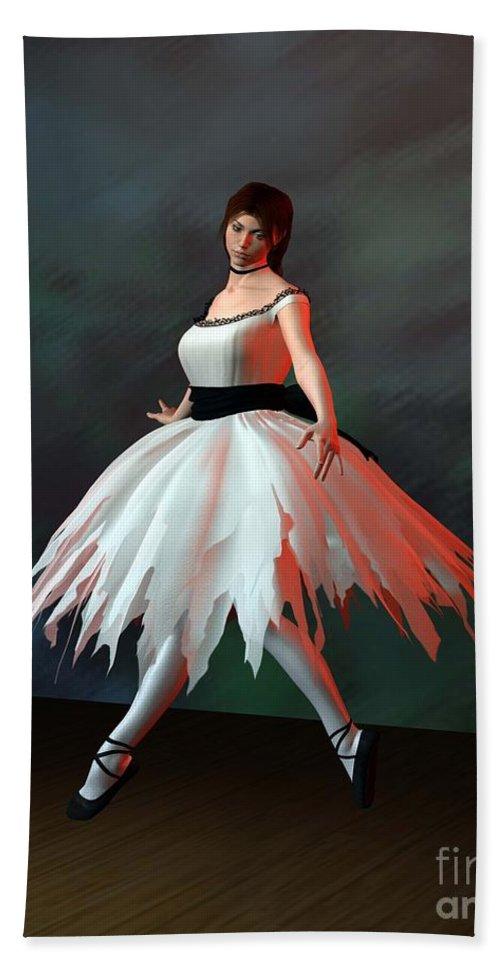 Ballet Beach Towel featuring the digital art Ballet Dancer by John Junek