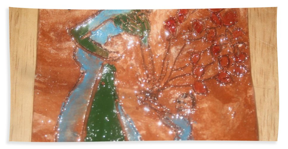 Jesus Beach Towel featuring the ceramic art Balloons For Mum - Tile by Gloria Ssali