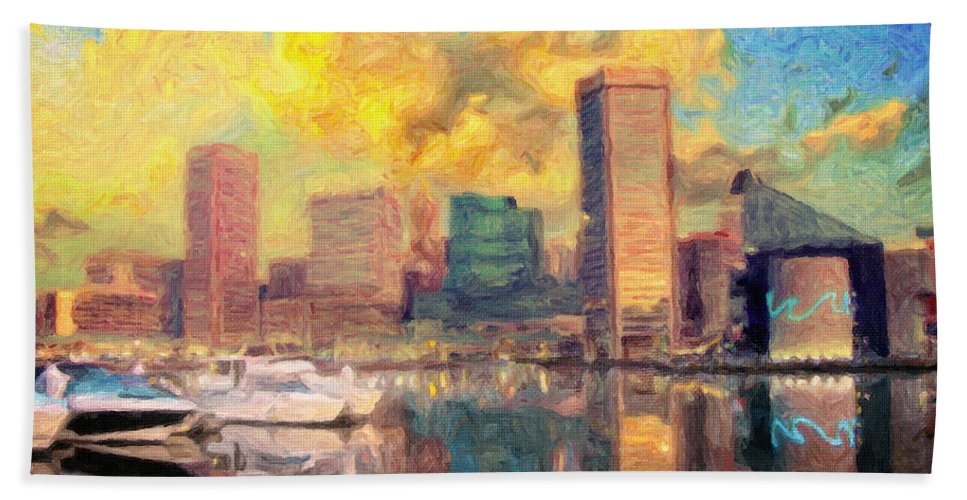 Baltimore Skyline Beach Towel featuring the painting Baltimore Maryland Skyline by Zapista