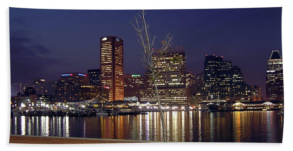 2d Beach Towel featuring the photograph Baltimore Reflections by Brian Wallace
