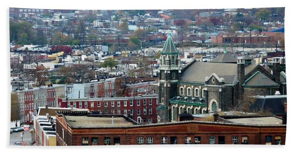 Cities Beach Towel featuring the photograph Baltimore Rooftops by Carol Groenen