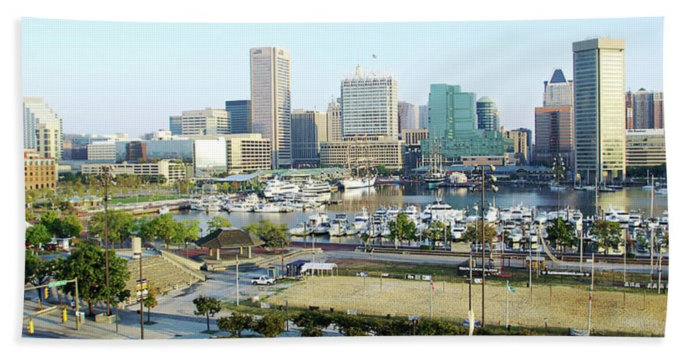 2d Beach Towel featuring the photograph Baltimore's Inner Harbor by Brian Wallace