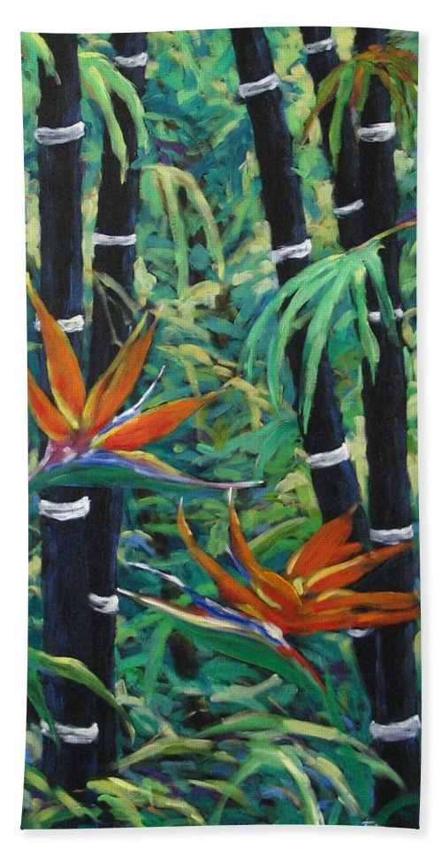 Bamboo Beach Towel featuring the painting Bamboo And Birds Of Paradise by Richard T Pranke