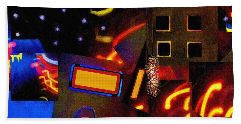New York Beach Towel featuring the painting Banana Moon Over Broadway by RC DeWinter