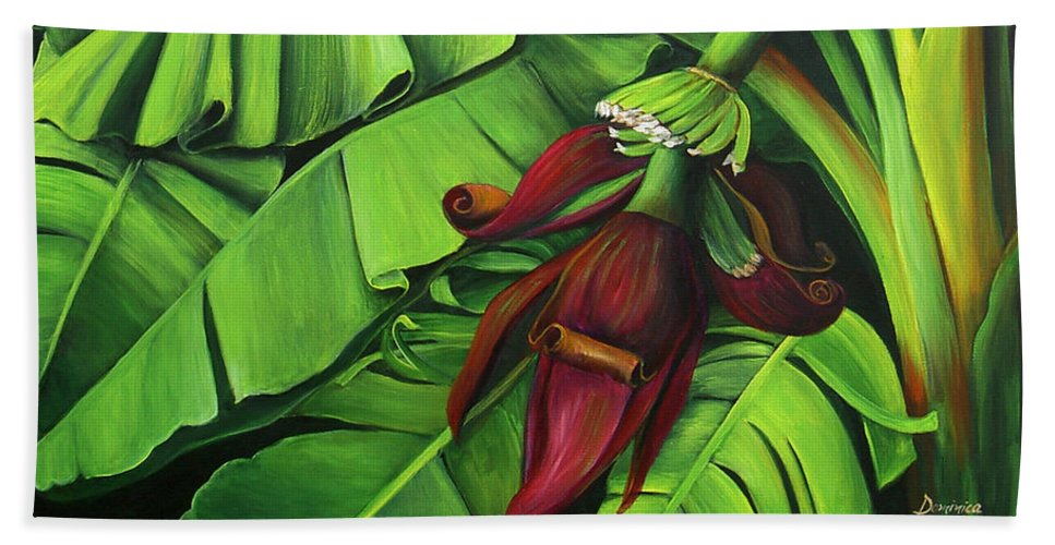 Banana Tree Beach Towel featuring the painting Banana Tree Flower by Dominica Alcantara