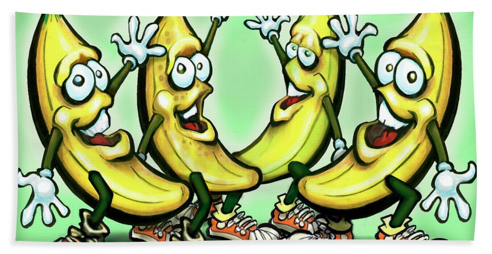 Banana Beach Towel featuring the painting Bananas by Kevin Middleton