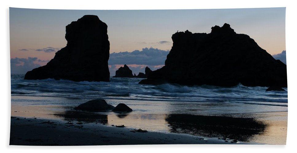 Oregon Beach Towel featuring the photograph Bandon Oregon Sea Stacks by Renee Hong