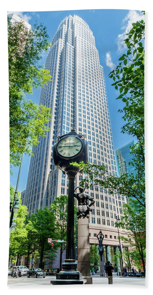 Architecture Beach Towel featuring the photograph Bank Of America Corporate Center In Charlotte, Nc by Bryan Pollard