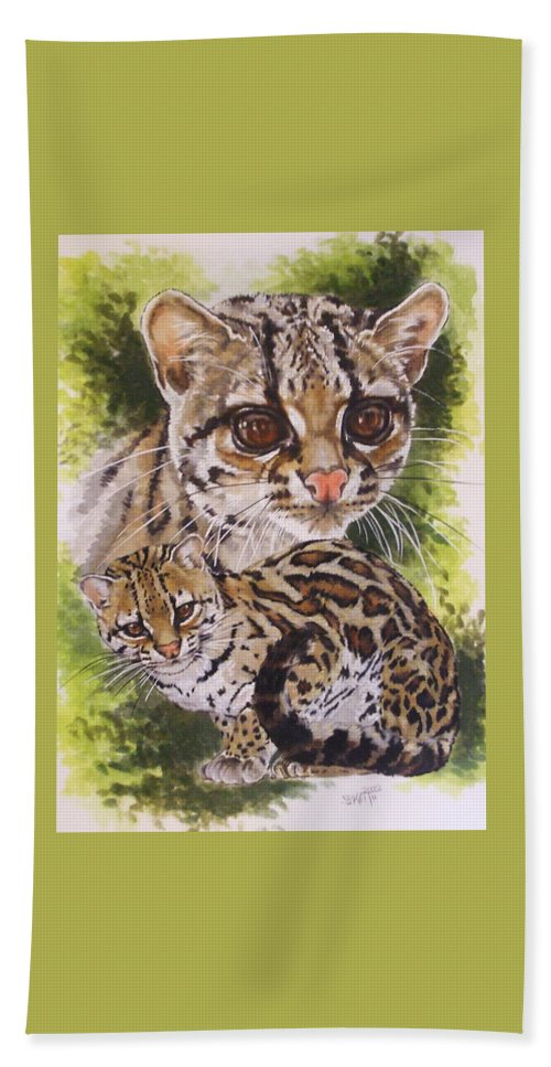 Margay Beach Towel featuring the mixed media Bantam by Barbara Keith