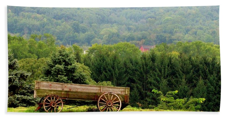 Old Wagon Beach Towel featuring the photograph Baraboo Hillside by Marilyn Smith