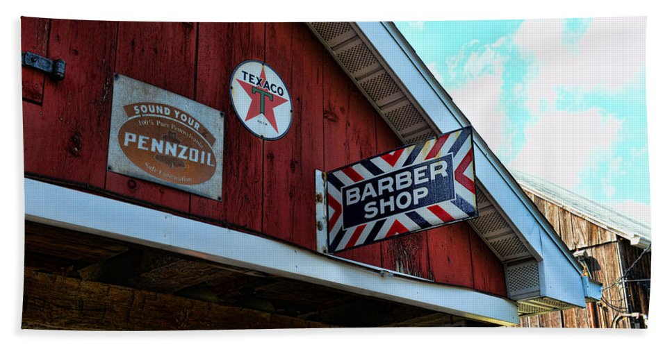 Barber Beach Towel featuring the photograph Barber - Old Barber Shop Sign by Paul Ward