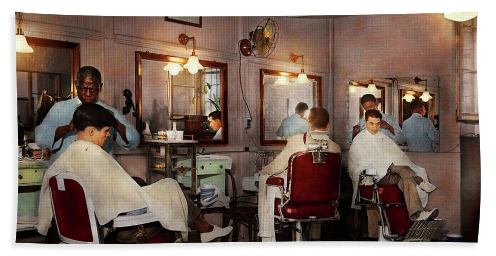 Barber Art Beach Towel featuring the photograph Barber - Senators-only Barbershop 1937 by Mike Savad
