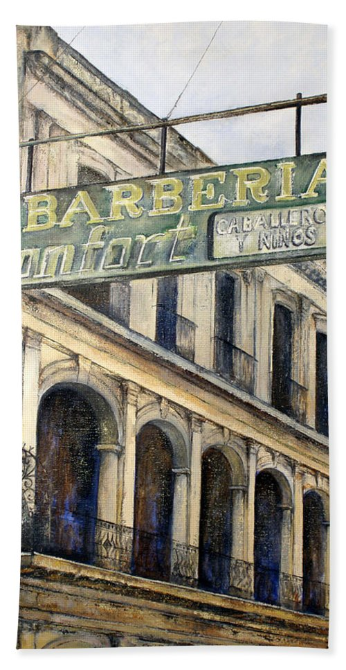 Konfort Barberia Old Havana Cuba Oil Painting Art Urban Cityscape Beach Sheet featuring the painting Barberia Konfort by Tomas Castano