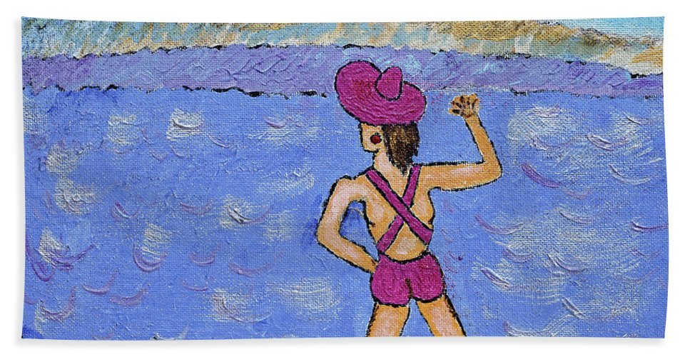 Barb Beach Towel featuring the painting Barb's Beach Waving by Robyn Louisell