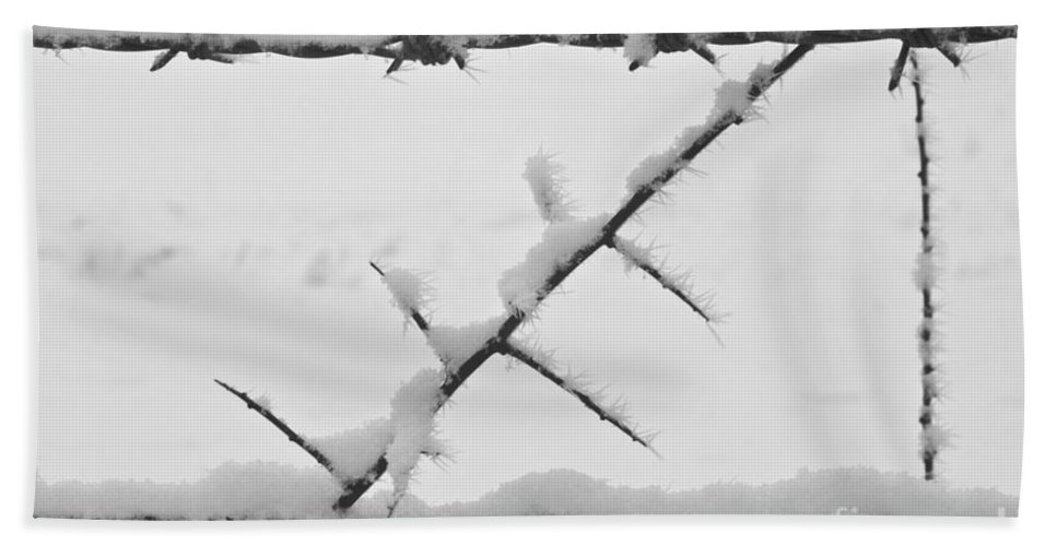 Heiko Beach Towel featuring the photograph Barbwire Fence In Snow 1 by Heiko Koehrer-Wagner