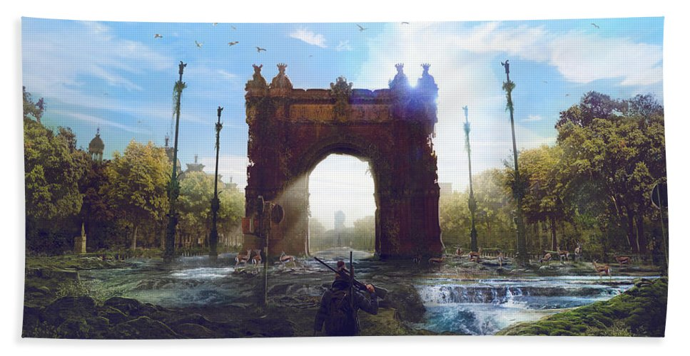 Sciencie Fiction Beach Towel featuring the painting Barcelona Aftermath Arc De Triomf by Guillem H Pongiluppi