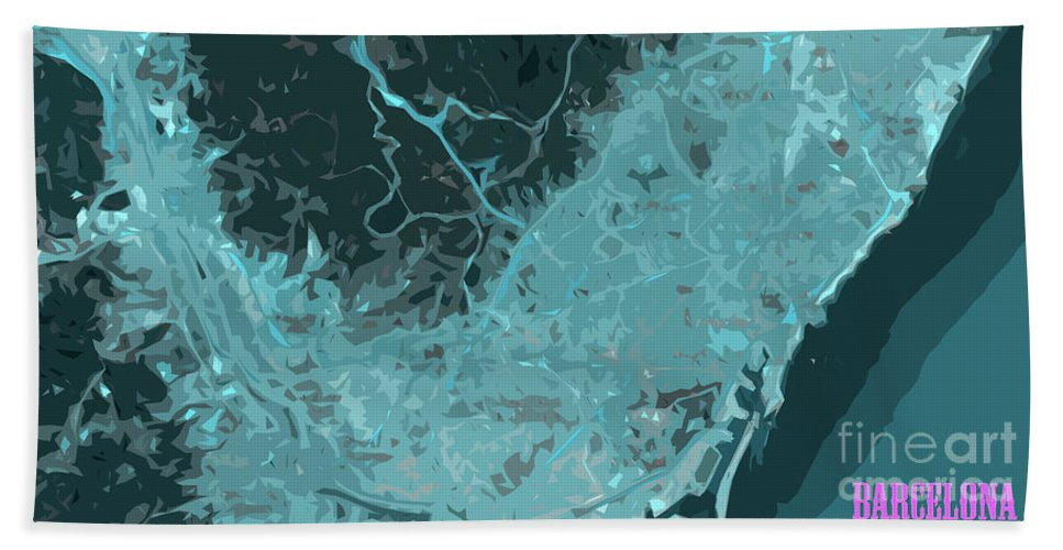 Barcelona Beach Towel featuring the digital art Barcelona Traffic Abstract Blue Map by Drawspots Illustrations