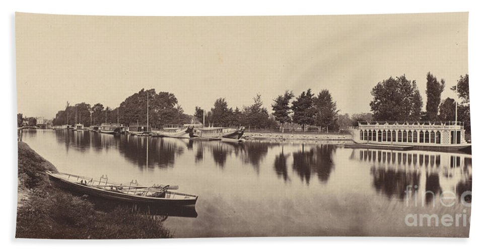 Beach Towel featuring the photograph Barges At Oxford by Victor Albert Prout