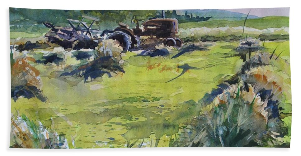 Vintage Tractor Beach Towel featuring the painting Barley Harvest by Spencer Meagher