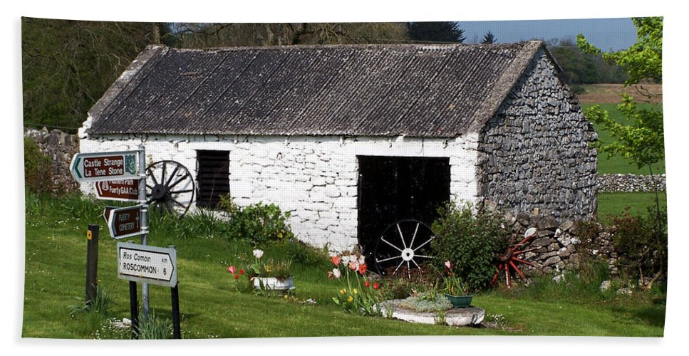 Ireland Beach Sheet featuring the photograph Barn At Fuerty Church Roscommon Ireland by Teresa Mucha