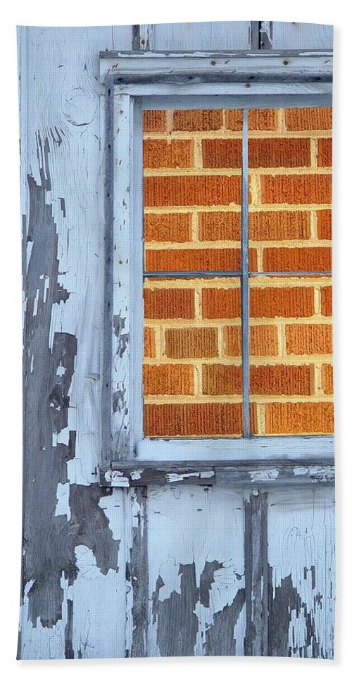 Barn Beach Towel featuring the photograph Barn Brick Window by Tim Allen