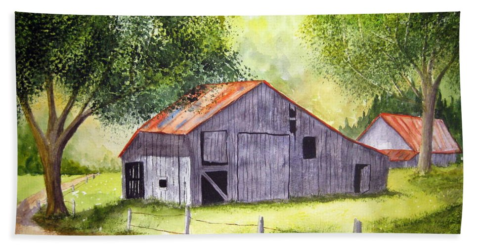 Nc Beach Towel featuring the painting Barn By The Road by Julia RIETZ