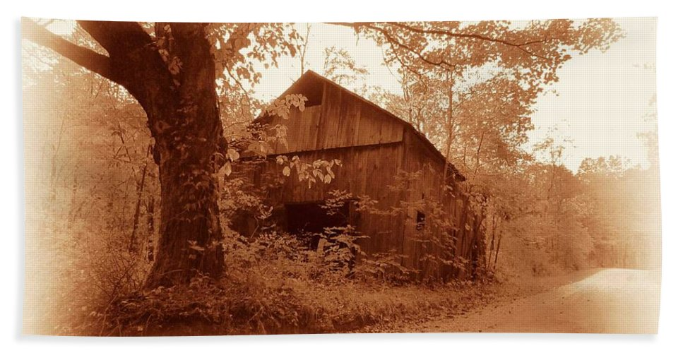 Barn Beach Towel featuring the photograph Barn Hocking Co Ohio Sepia by Nelson Strong