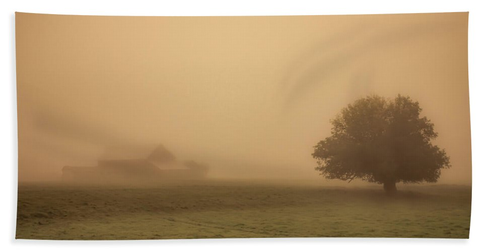 Barn Beach Towel featuring the photograph Barn In The Mist by Don Schwartz