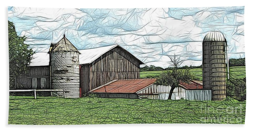 Barns Beach Towel featuring the photograph Barn Landscape Colored Pencil Chicken Scratch Effect by Rose Santuci-Sofranko