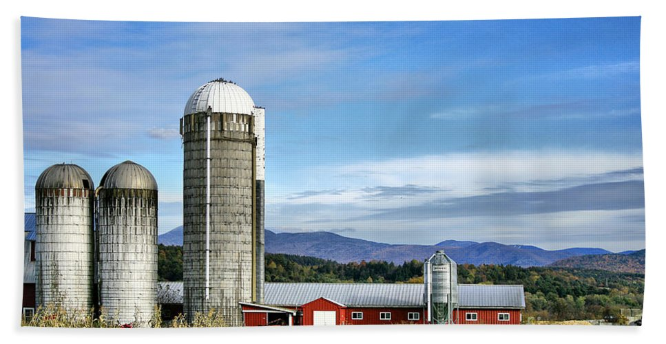Rural Beach Towel featuring the Barn With A View by Deborah Benoit