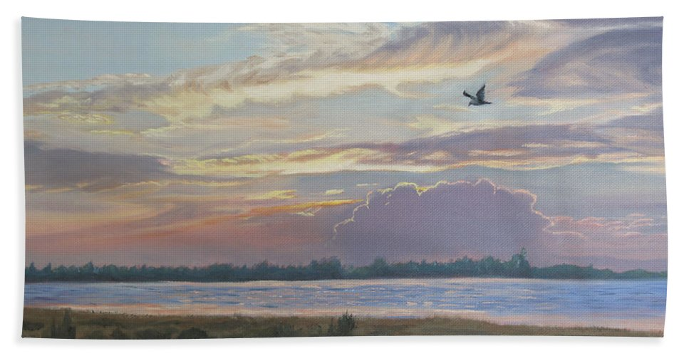 Sunset Painting Beach Towel featuring the painting Barnegat Bay At Sunset by Lea Novak