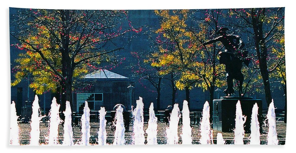 Landscape Beach Towel featuring the photograph Barney Allis Plaza-kansas City by Steve Karol