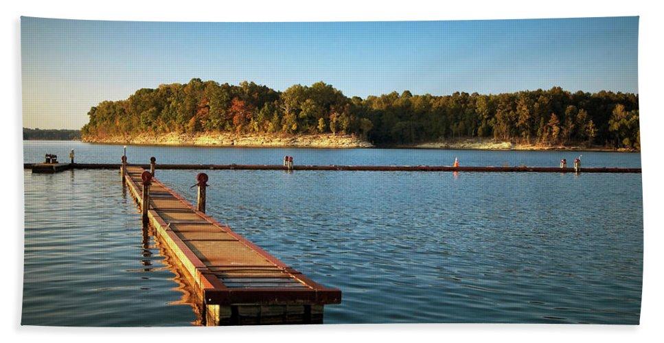 Barren Beach Towel featuring the photograph Barren River Lake Dock by Amber Flowers