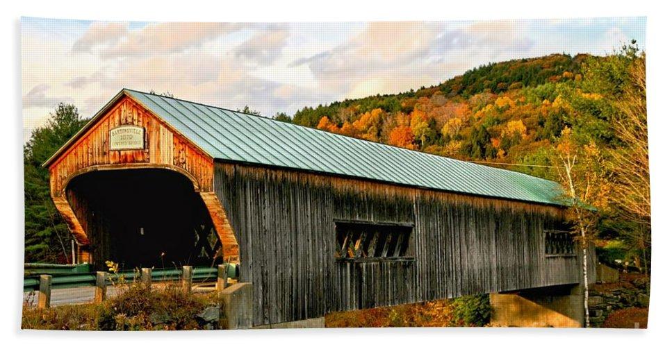 Covered Bridge Beach Towel featuring the photograph Bartonsville Covered Bridge by DJ Florek