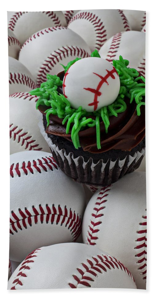 Baseball Beach Towel featuring the photograph Baseball Cupcake by Garry Gay