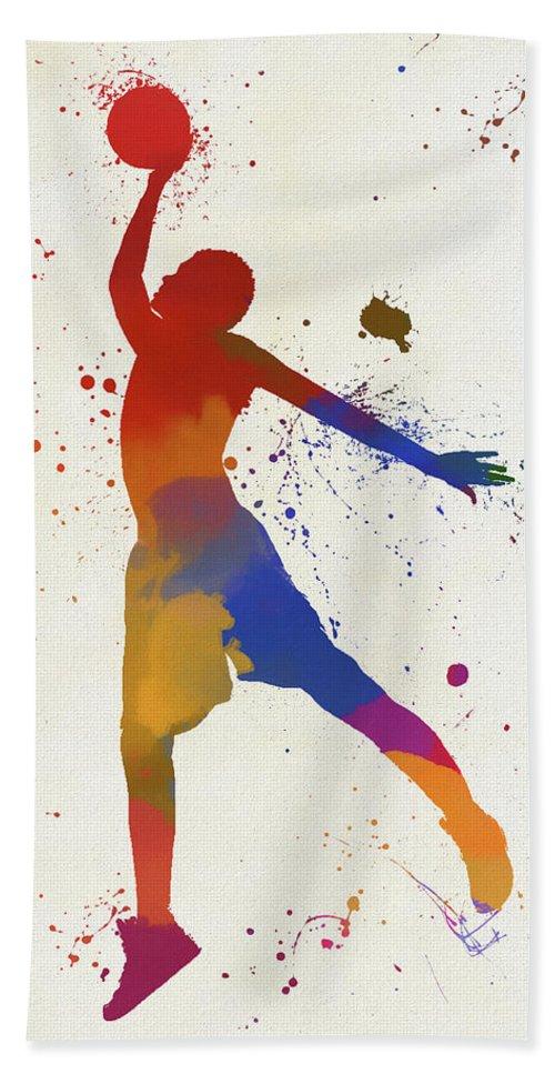 Basketball Player Paint Splatter Beach Towel featuring the painting Basketball Player Paint Splatter by Dan Sproul