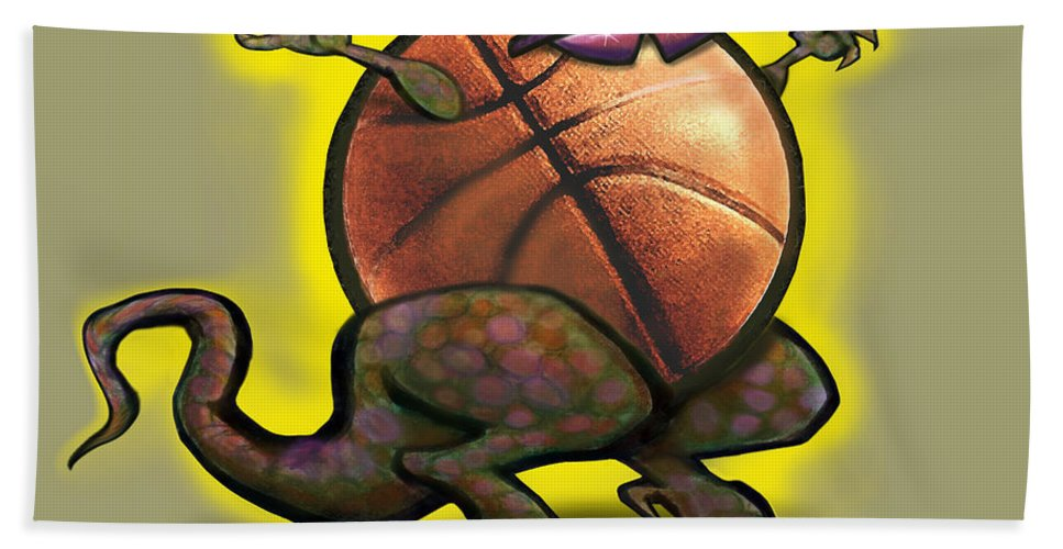 Basketball Beach Towel featuring the digital art Basketball Saurus Rex by Kevin Middleton