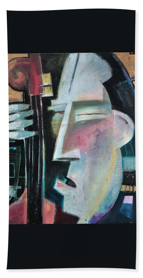 Jazz Beach Sheet featuring the painting Bass Face by Tim Nyberg